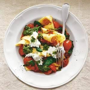 Lasagnette met tomaat, spinazie & ricotta recept