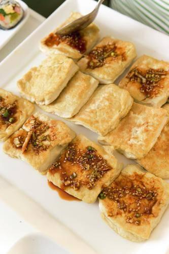 Tak kooe gebakken tofu met hete saus recept