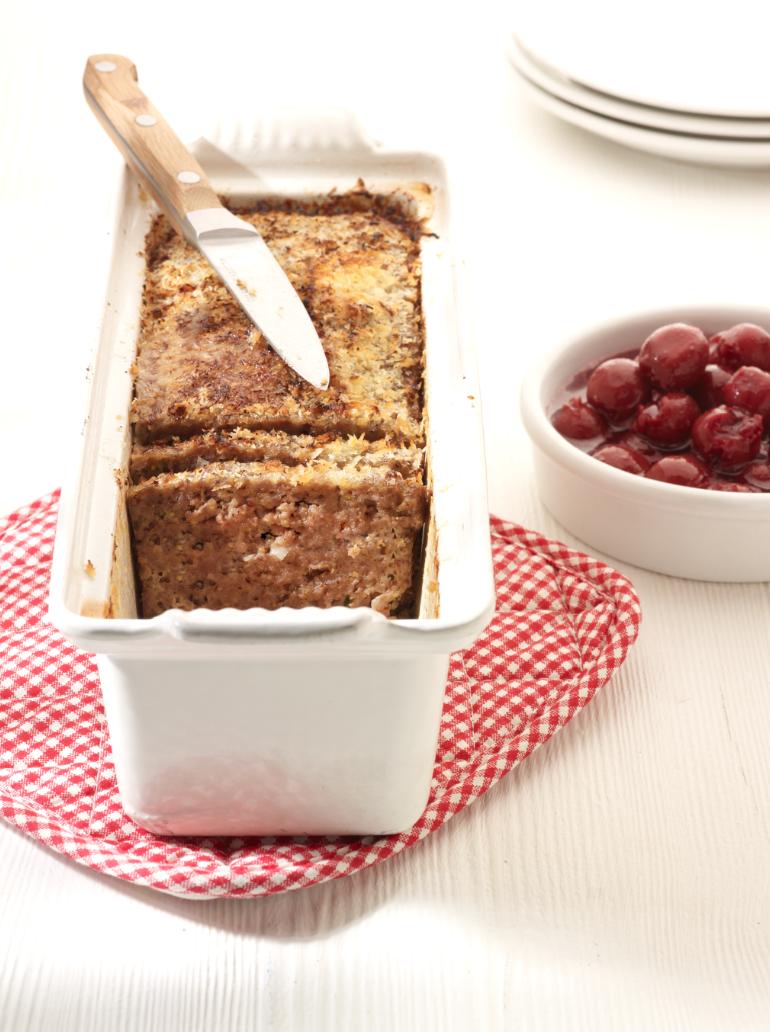 Recept 'gehaktbrood met warme kriekjes'