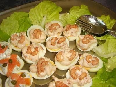 Gevulde eieren met garnalen recept