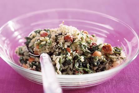 Risotto met spinazie en noten