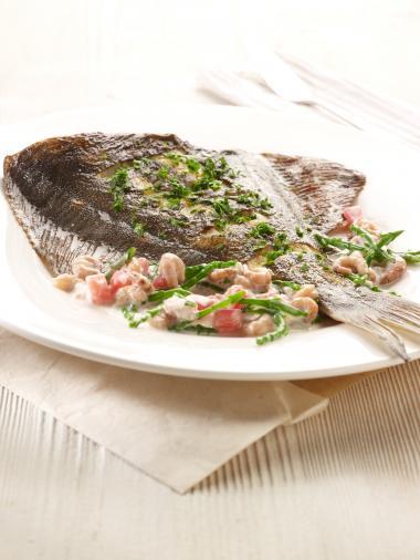 Recept 'pladijs met grijze garnalen en zeekraal'