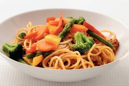 Tomatenspaghetti met italiaanse groenten