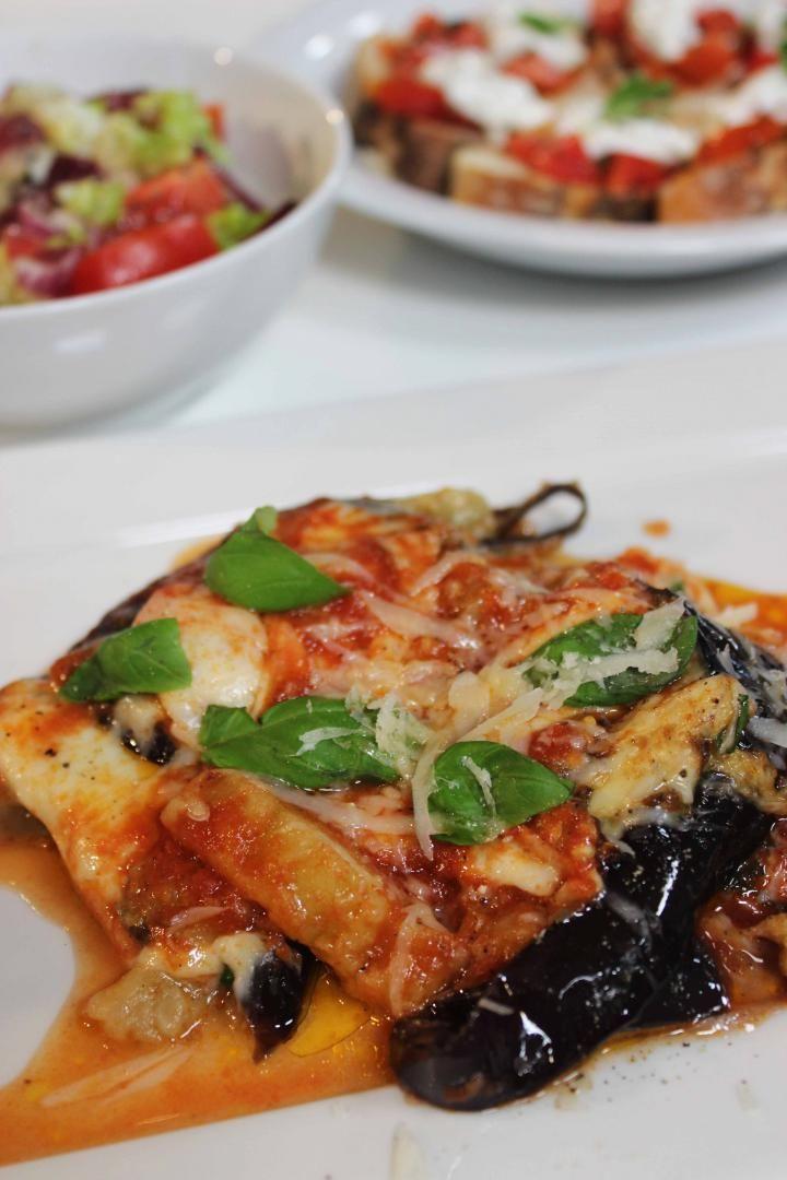 Recept 'lasagne van aubergine met toscaanse salade'