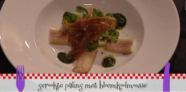 Gerookte paling met bloemkoolmousse recept