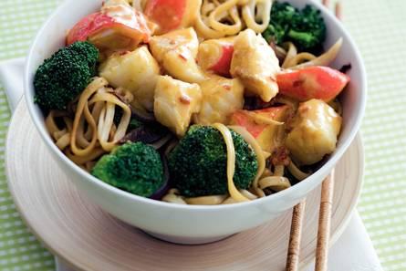 Kabeljauw met broccoli en noedels