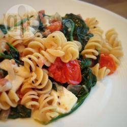 Pasta met spinazie en mozzarella recept