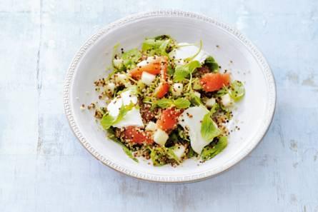 Quinoa met grapefruit, peer en geitenkaas