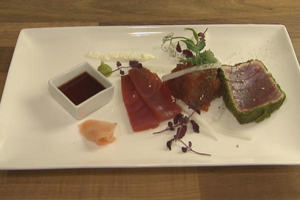 Trio van tonijn met daikon en shiso