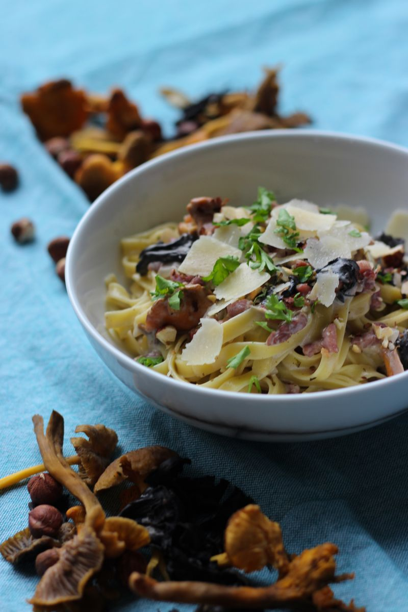 Recept 'pasta met bospaddenstoelen '