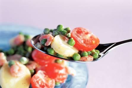 Aardappelsalade met garnalen