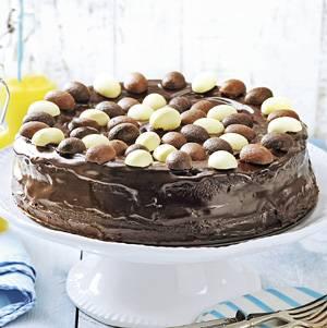 Chocolade ganache taart met paaseitjes recept