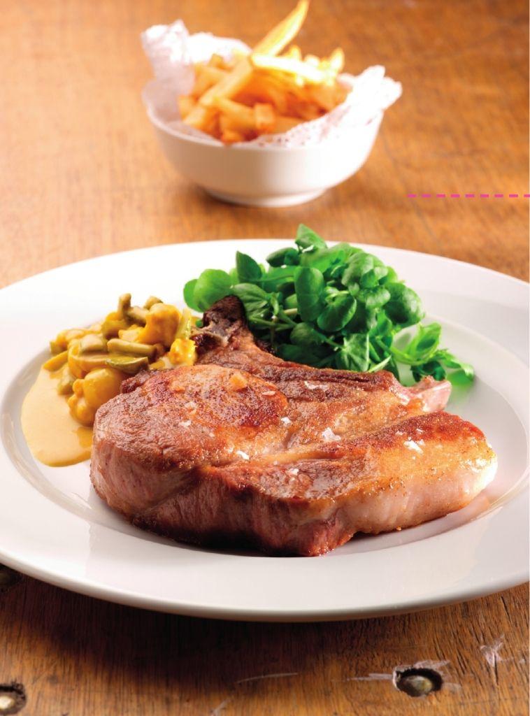 Recept 'varkenskotelet met blackwellsaus en frietjes'