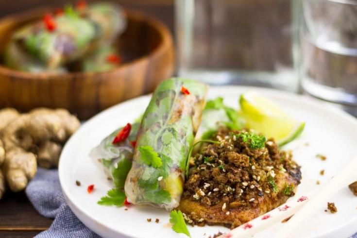 Kabeljauw met wasabicrumble en vegetarische spring rolls