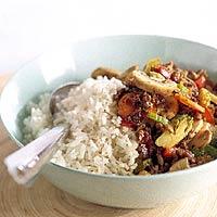 Rijst met pittig gehakt recept