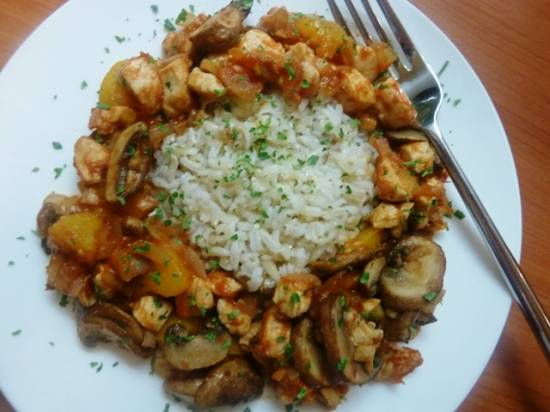 Kip pilaf met perzik (slank gerecht) recept