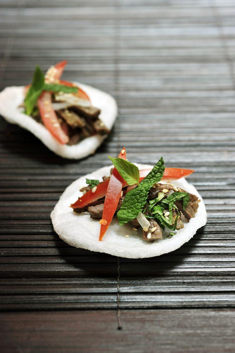 Recept 'kroepoek met gebakken rundsvlees'
