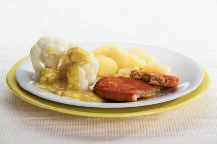 Vegetarische schnitzel met bloemkool