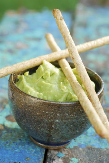 Recept 'slaatje met avocadopuree'