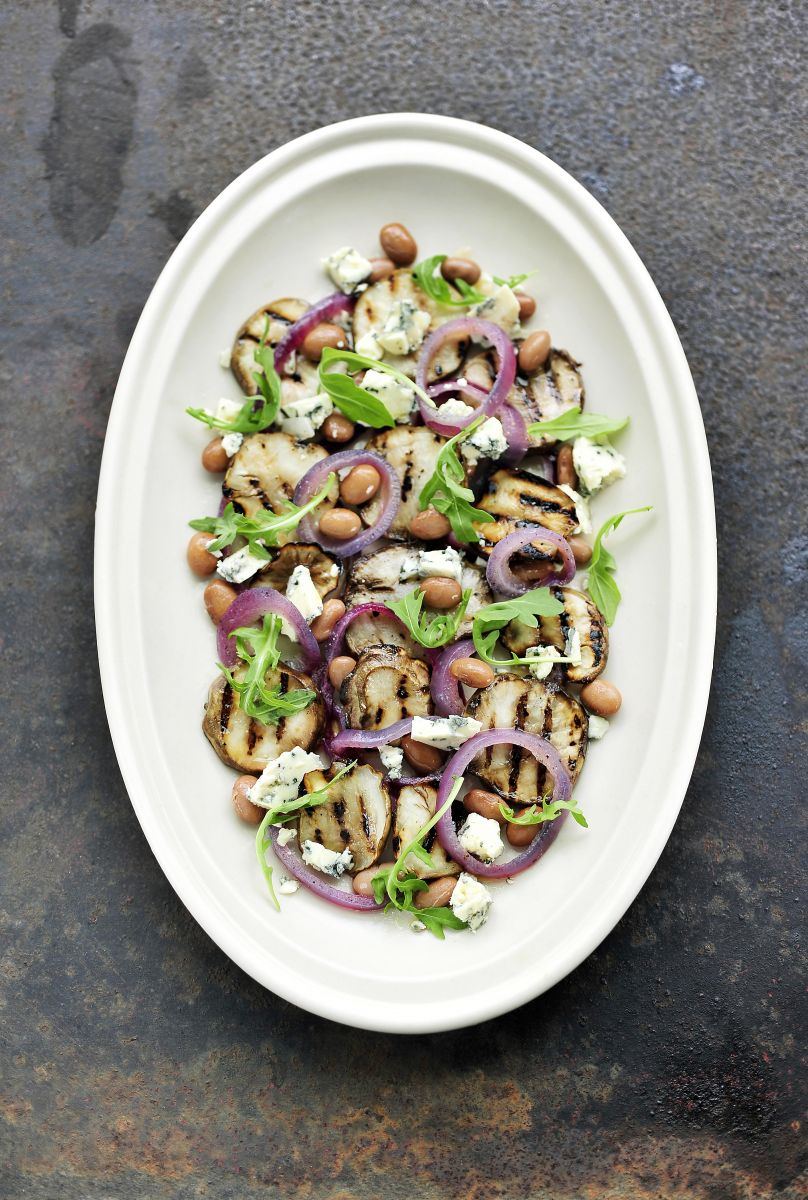 Recept 'salade van gegrilde aardpeer'
