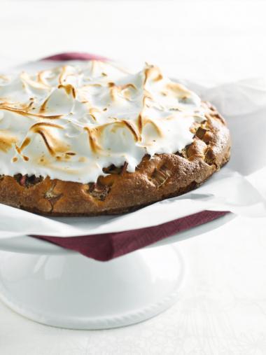 Recept 'rabarbertaart met meringue'