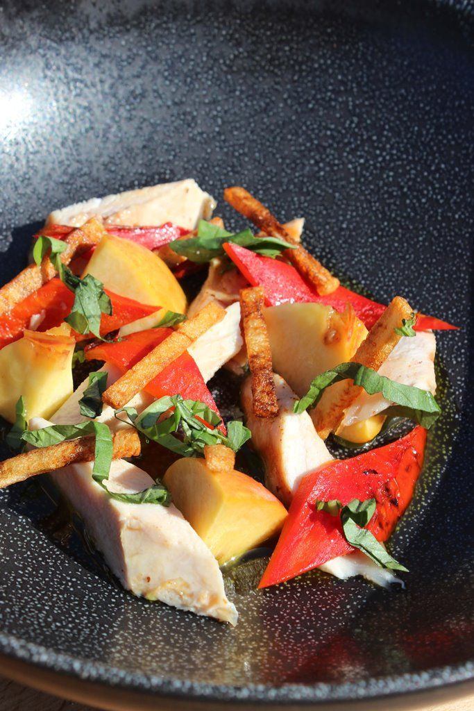 Recept 'kip met perzik, gegrilde paprika en basilicum'