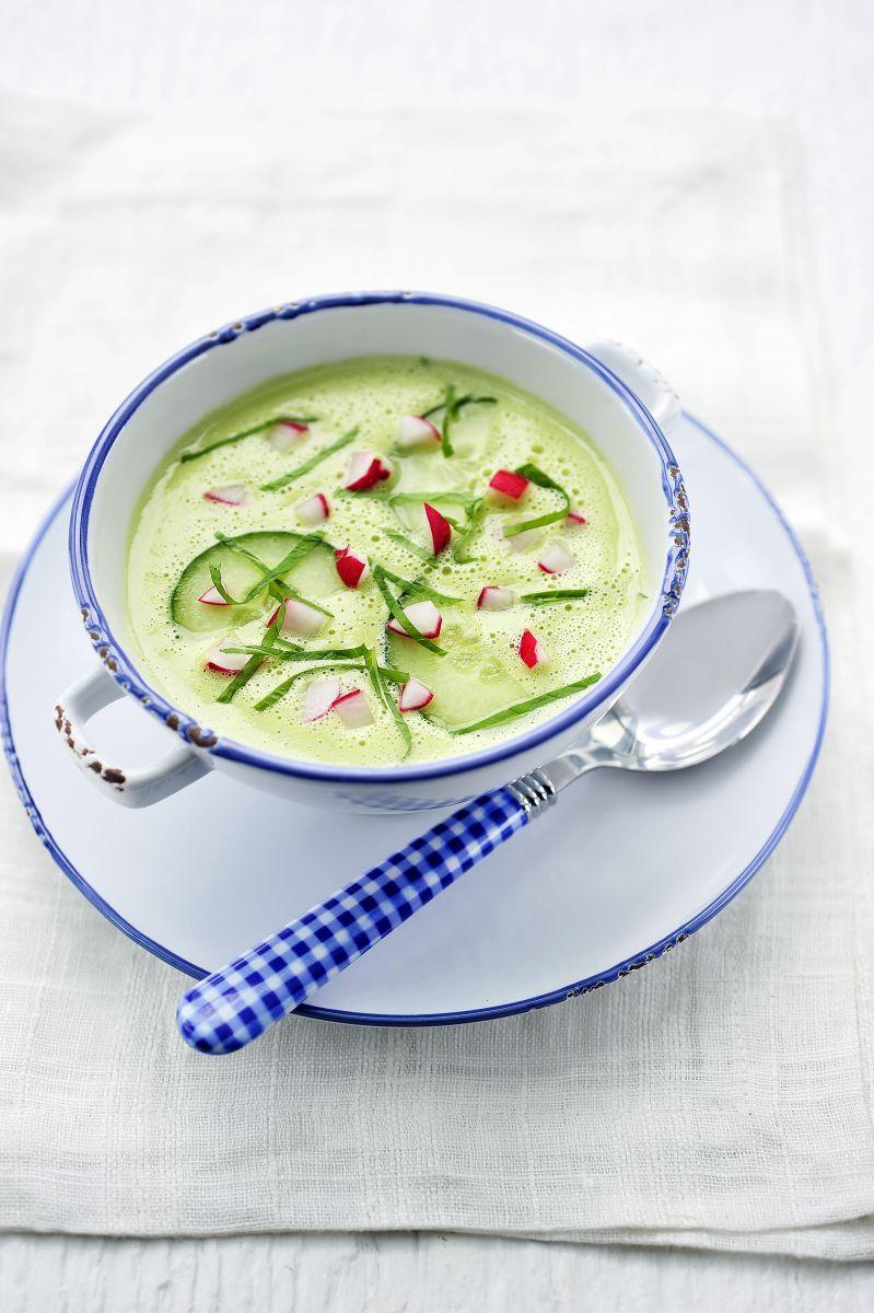 Recept 'koude komkommersoep met radijsjes'