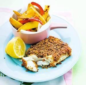 Krokante vis met groente-friet recept