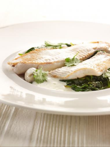 Recept 'pladijs met oestersaus en spinazie'