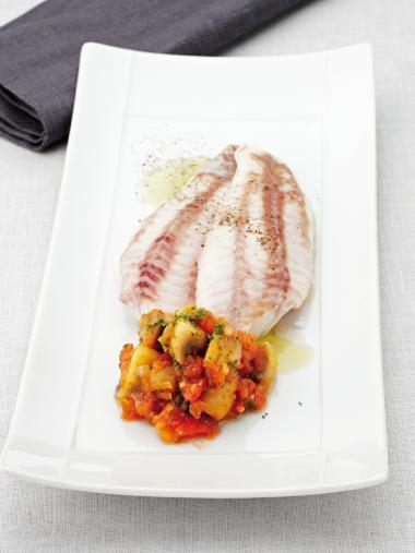 Recept 'rode poon met champignons à la grecque'