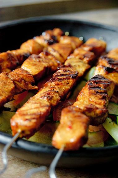 Recept 'heerlijk gemarineerde kip op een stokje'