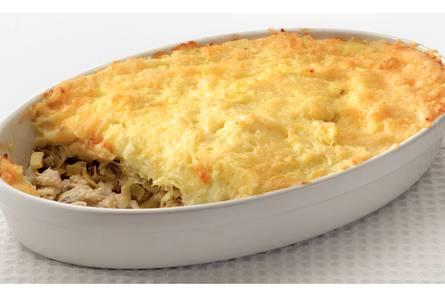 Ovenschotel met vis en aardappelpuree