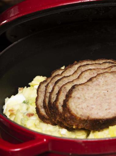 Recept 'preistoemp met gehaktbrood'