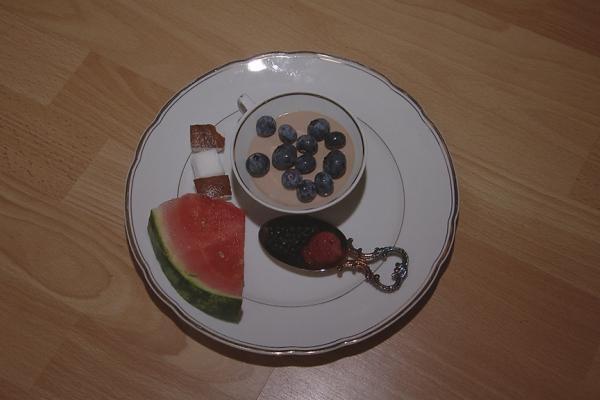 Chocolade met mascarpone en fruit