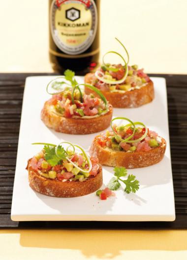 Recept 'bruschetta met tonijn-avocadotartaar'