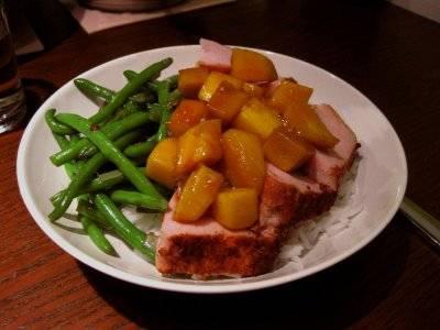 Beenham met mango en whisky-honing saus recept