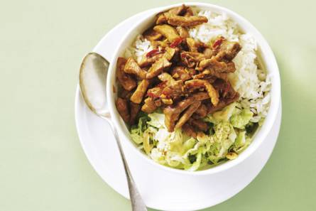 Babi ketjap met chinese kool en rijst