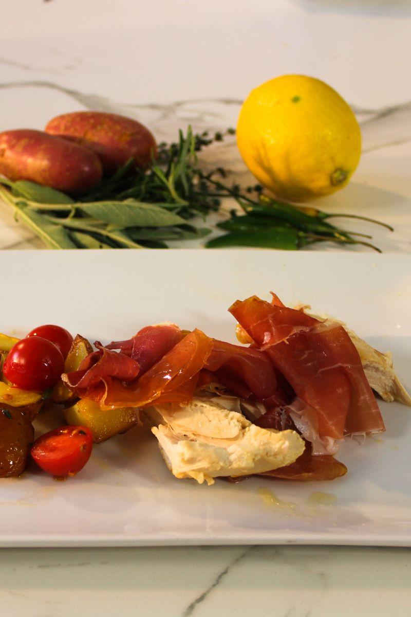 Recept 'gebraden kip met parmaham en aardappeltjes uit de oven ...