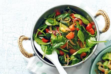 Spinazie-ui-wokschotel
