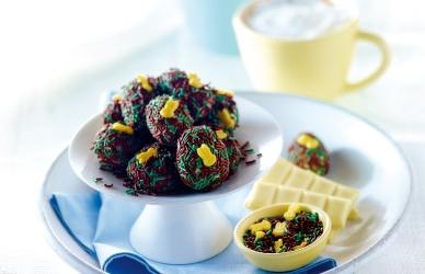 Bonbons van witte chocolade met lentehagel recept