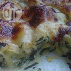 Lasagne met bieslook, spinazie en blauwe kaas recept