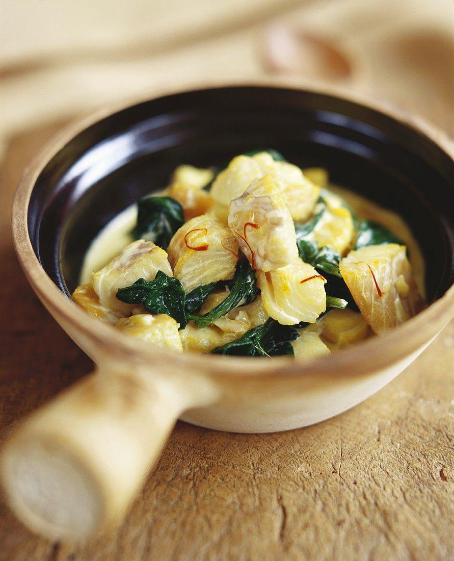 Recept 'vispannetje met spinazie en saffraan'