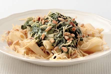 Penne met spinazie en roomkaas