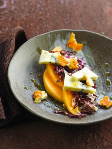 Recept 'salade met meloen en blauwe kaas'