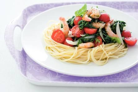 Spaghettini met garnalen en spinazie