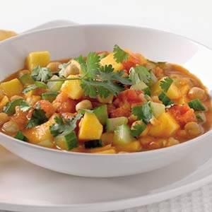Curry met kikkererwten en mango recept