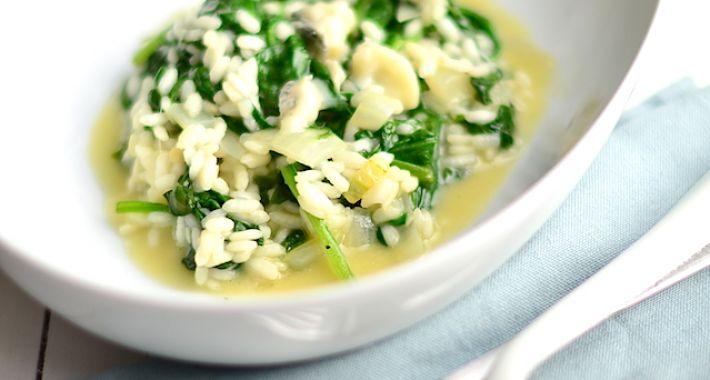 Makkelijke maaltijd: spinazie risotto met blauwe kaas