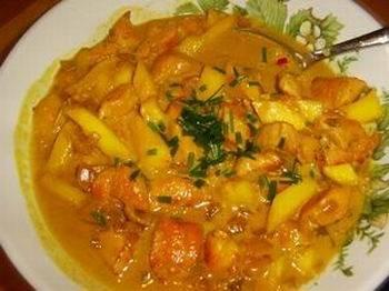 Kipfilet met mango in een pittige roomsaus recept