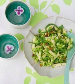 Penne avocado met erwtjes en zeekraal recept