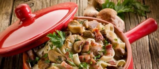 Pasta met gemengd wilde paddestoelen recept
